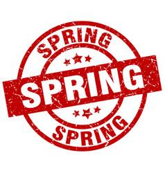 Spring round red grunge stamp vector