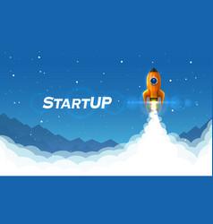 startup space rocket launch art creative idea vector image