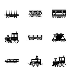 Steam locomotive icons set simple style vector