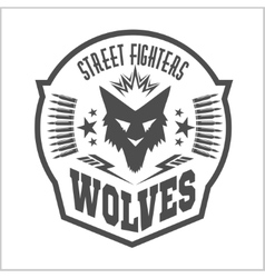 Street fight club with wolf and inscriptions vector