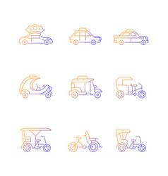 taxicab types gradient linear icons set vector image