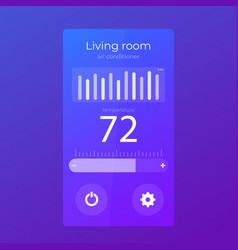 Thermostat app mobile ui design template vector