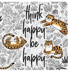 Think happy be happy quote contour tropical vector