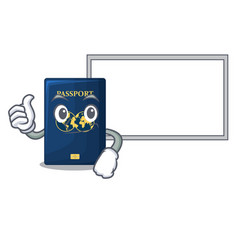 thumbs up with board blue passport in the cartoon vector image