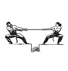 Tug of war man and woman are pulling rope vector