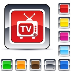 TV square button vector image