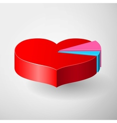 Valentines Day infographics with heart pie diagram vector image