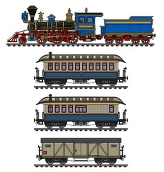 vintage steam locomotive and wagons vector image