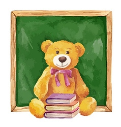 Watercolor teddy bear and school board vector image