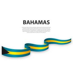 Waving ribbon or banner with flag bahamas vector