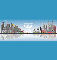 welcome to usa skyline with gray buildings blue vector image