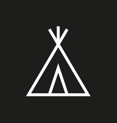 wigwam icon on black background vector image