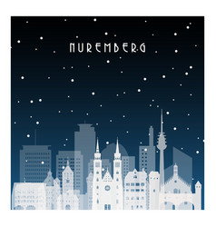 winter night in nuremberg night city vector image