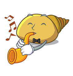 With trumpet mollusk shell mascot cartoon vector