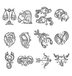 zodiac characters astrology horoscope signs vector image