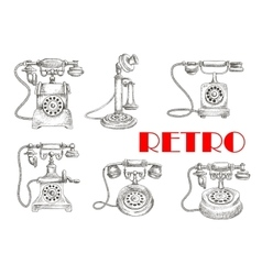 Sketch of retro telephones with rotary dials vector image vector image