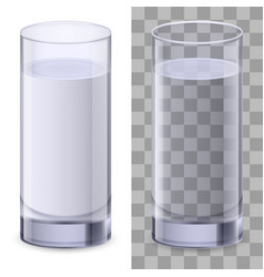 Two realistic glasses of water on white vector