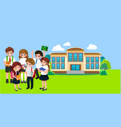 back to school concept for banner children stand vector image