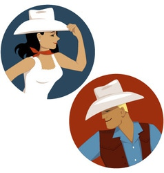 Cowgirl and cowboy round portrait badges vector image