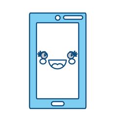 cute smartphone kawaii vector image