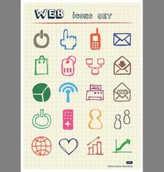 Doodle Internet web icons set vector image