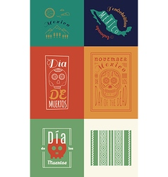 Mexican set Insignias Day of the Dead vector image vector image