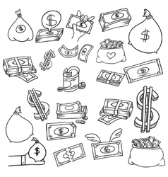 money doodle set vector image