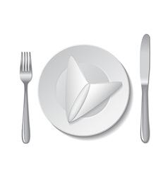 napkin plate cutlery vector image