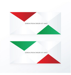 Abstract pyramid banner red green vector