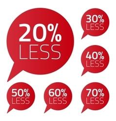 Set of percent less speech bubble sale business on vector