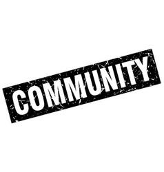 square grunge black community stamp vector image vector image