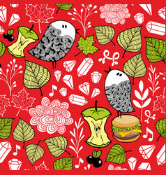 colorful seamless pattern with cute doodle birds vector image vector image