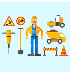 Road Repair Work vector image vector image