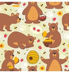 seamless pattern brown bear vector image vector image