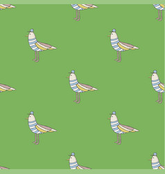 seamless pattern funny cartoon bird background vector image