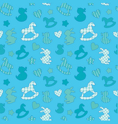 seamless pattern with toys - horse rabbit duck vector image