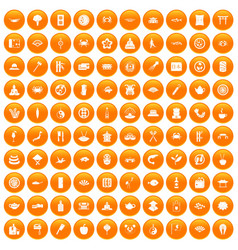 100 sushi bar icons set orange vector