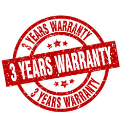 3 years warranty round red grunge stamp vector