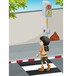 A girl with a brown shoes crossing the street vector