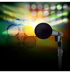 Abstract background with drum kit and microphone vector