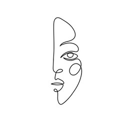Abstract portrait a young woman modern linear vector