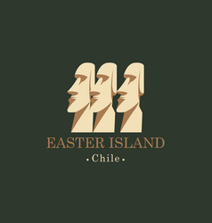 Banner with moai statues easter island chili vector