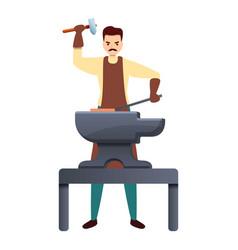 Blacksmith working hard icon cartoon style vector