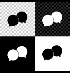 blank speech bubbles icon isolated on black white vector image