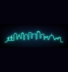 Blue neon skyline wellington city bright vector