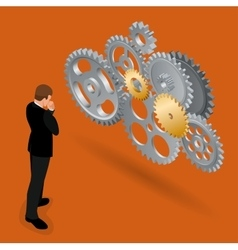Businessman thinking how to build business vector