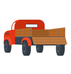 Car with empty container lorry with wooden back vector