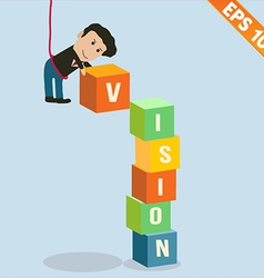 Cartoon Businessman stacking vision box vector