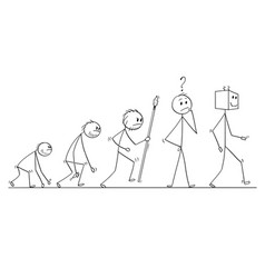 Cartoon of human evolution process progress vector