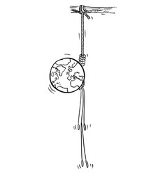 cartoon planet earth hanged on rope vector image